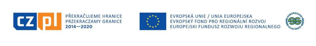 Logo Unii Europejskiej, EFRR oraz Euroregionu Glacensis