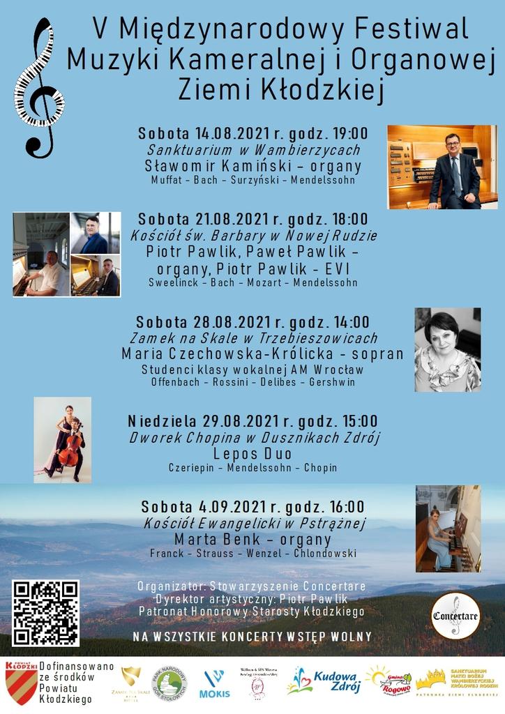 Plakat Międzynarodowego Festiwalu Muzyki Kameralnej i Organowej Ziemi Kłodzkiej
