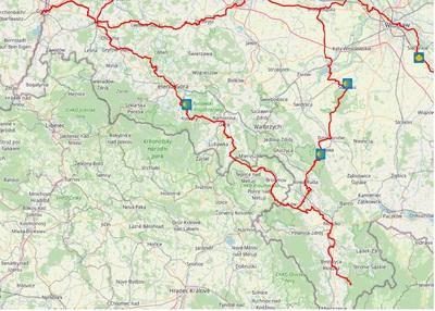 Mapa przebiegu Sudeckiej drogi św. Jakuba