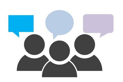 Schematyczny obrazek - trzy osoby mówią